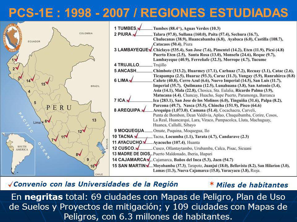 PCS-1E : 1998 - 2007 / REGIONES ESTUDIADAS