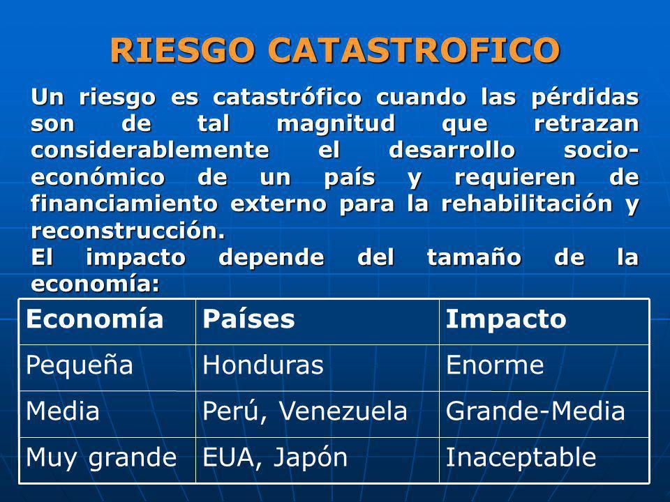 RIESGO CATASTROFICO Inaceptable EUA, Japón Muy grande Grande-Media
