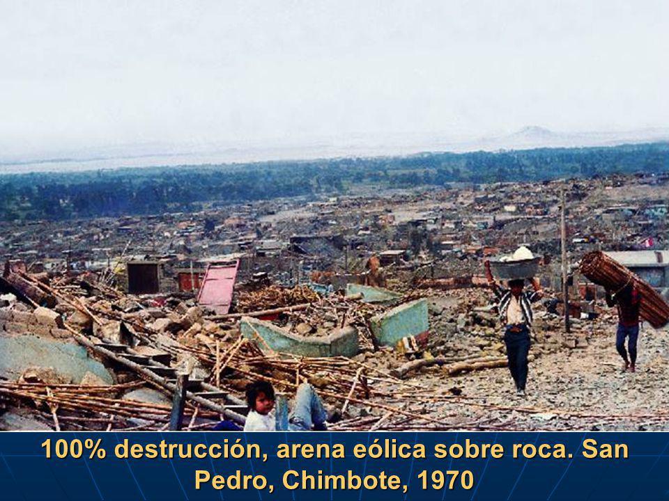 100% destrucción, arena eólica sobre roca. San Pedro, Chimbote, 1970