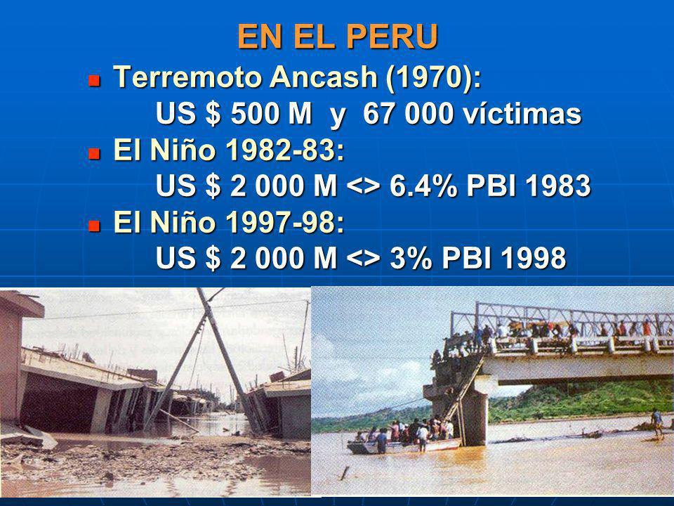 EN EL PERU Terremoto Ancash (1970): US $ 500 M y 67 000 víctimas