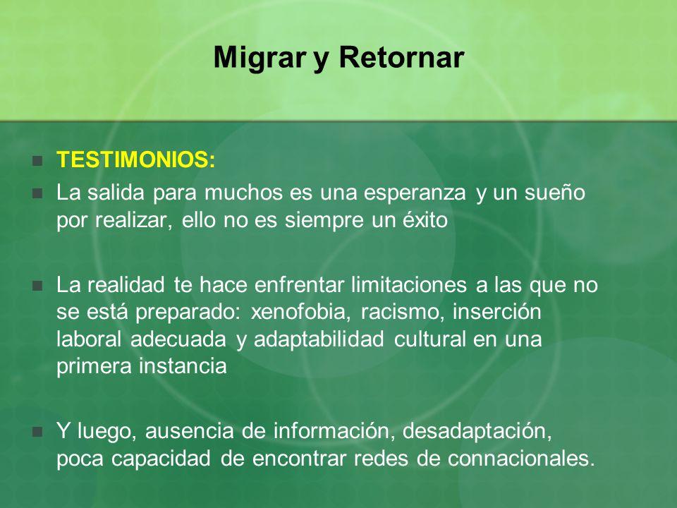 Migrar y Retornar TESTIMONIOS: