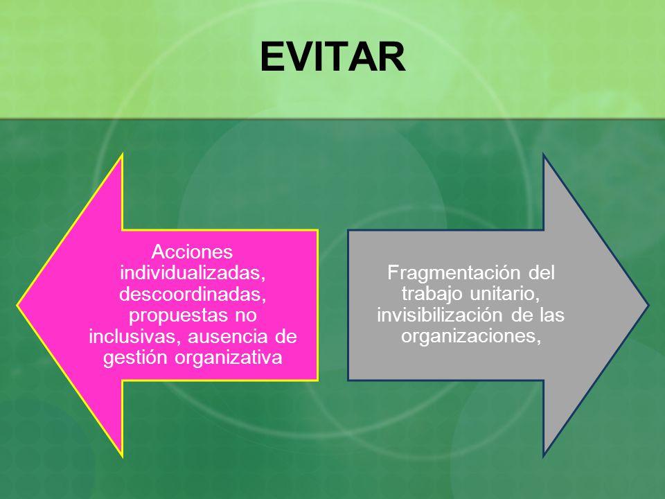 EVITAR Acciones individualizadas, descoordinadas, propuestas no inclusivas, ausencia de gestión organizativa.