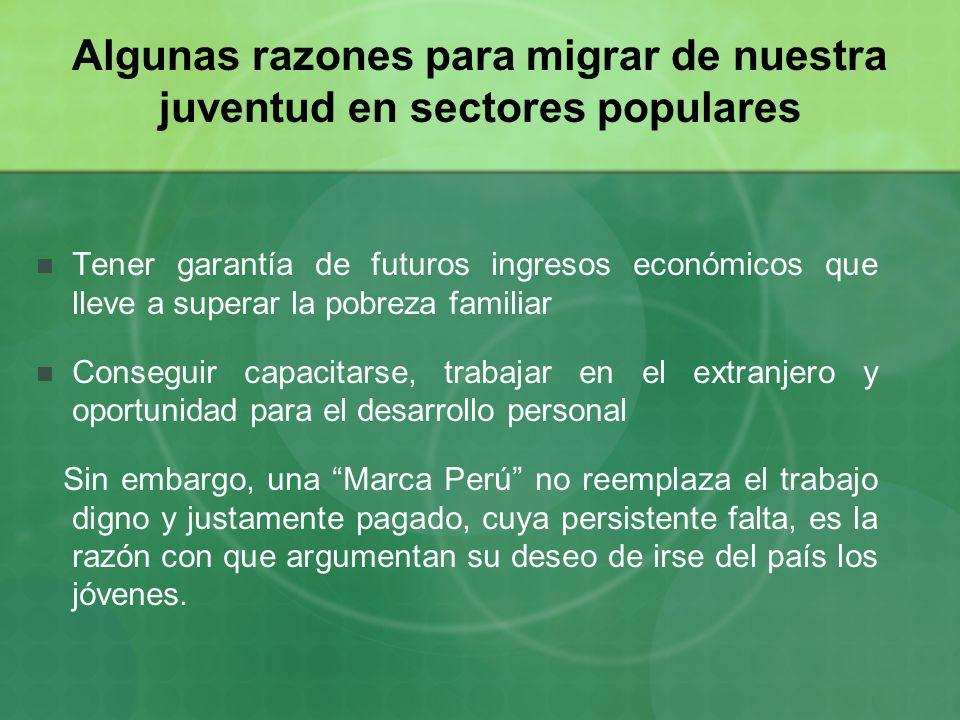 Algunas razones para migrar de nuestra juventud en sectores populares