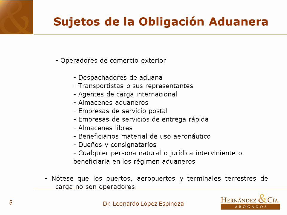 Sujetos de la Obligación Aduanera
