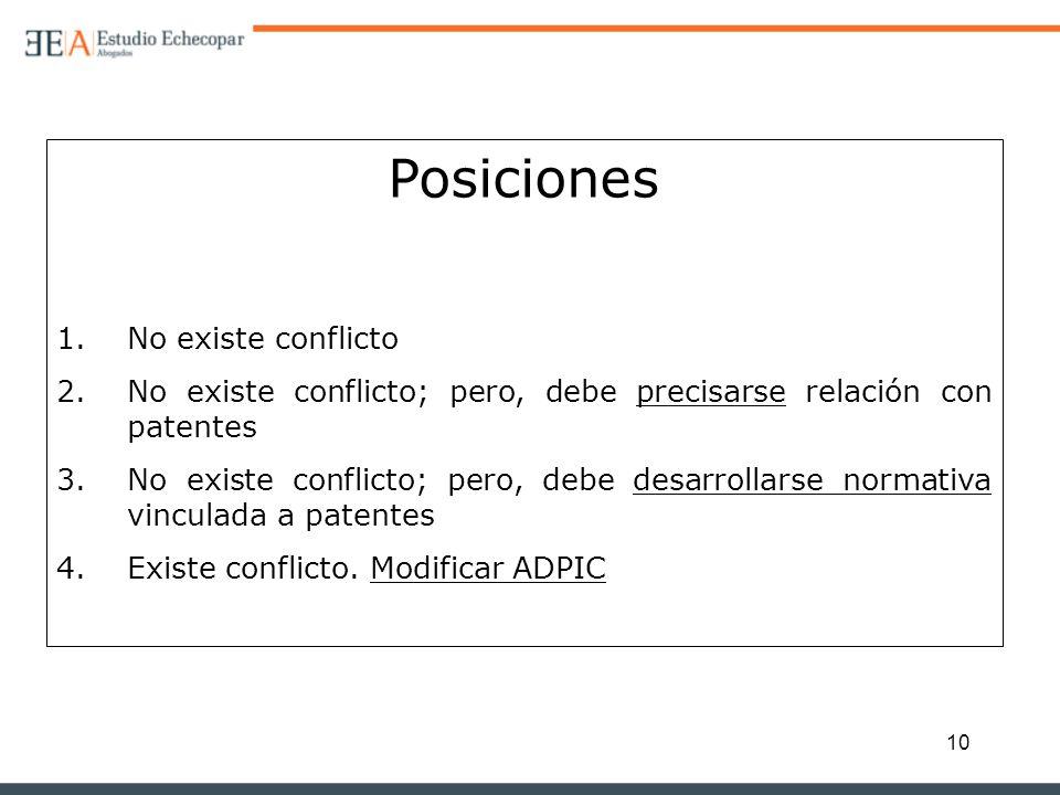 Posiciones No existe conflicto