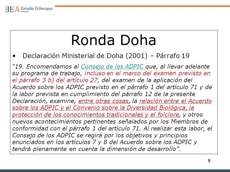 Ronda Doha Declaración Ministerial de Doha (2001) – Párrafo 19