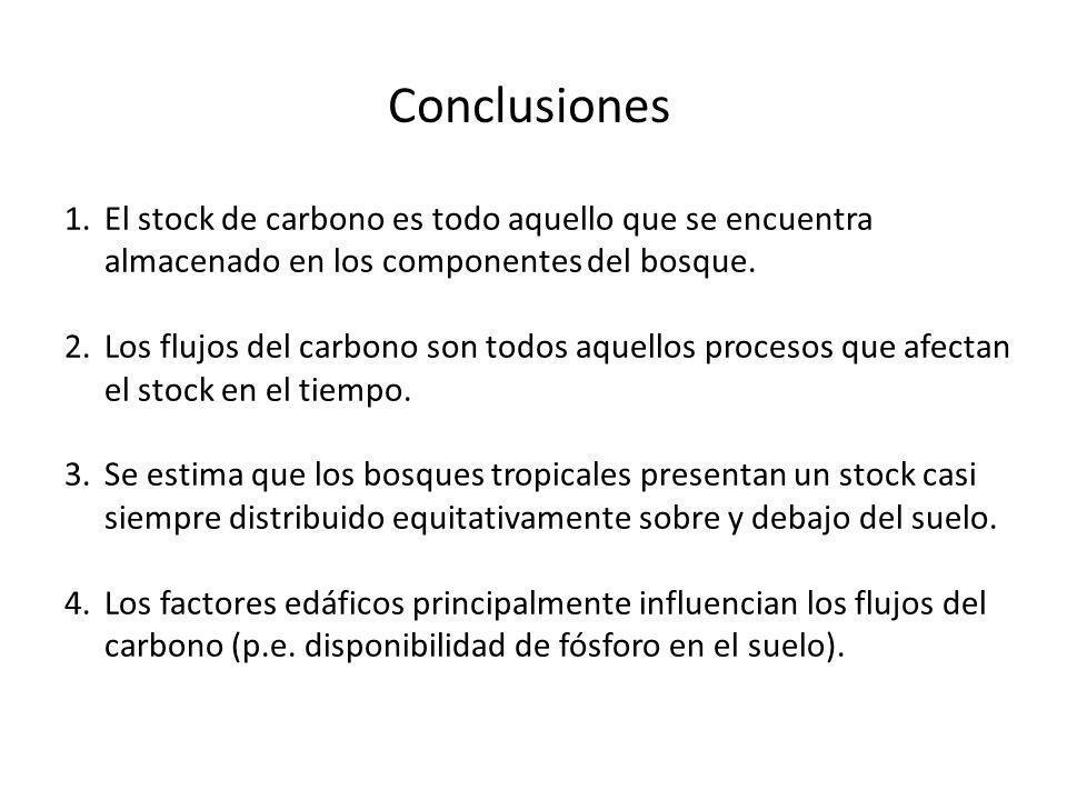 Conclusiones El stock de carbono es todo aquello que se encuentra almacenado en los componentes del bosque.