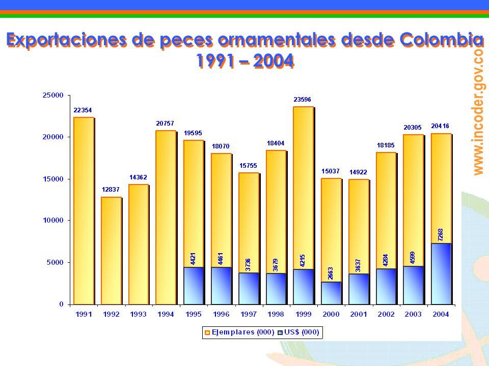 Exportaciones de peces ornamentales desde Colombia