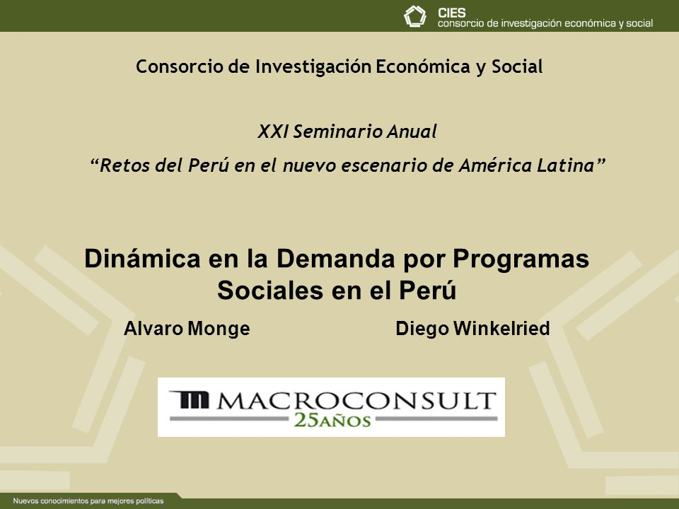 Dinámica en la Demanda por Programas Sociales en el Perú