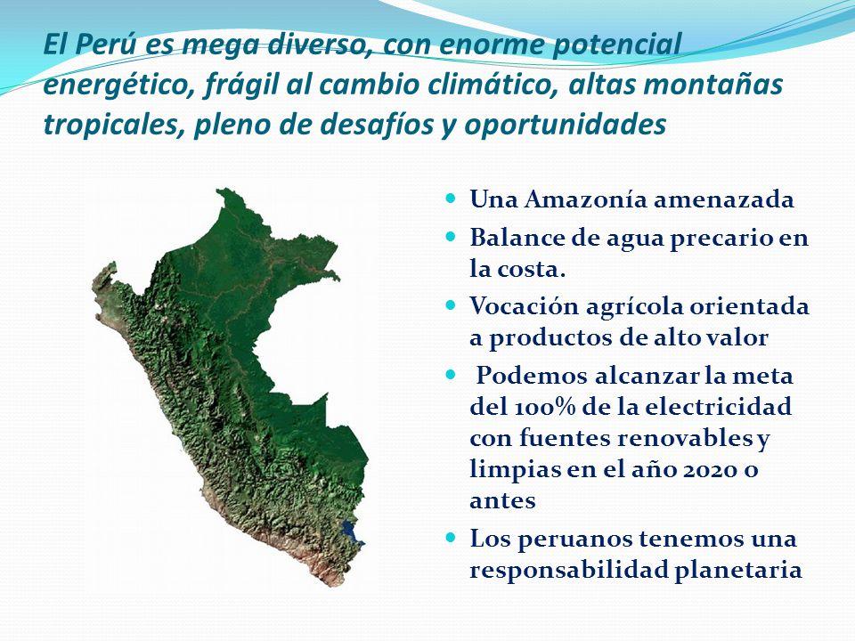 El Perú es mega diverso, con enorme potencial energético, frágil al cambio climático, altas montañas tropicales, pleno de desafíos y oportunidades