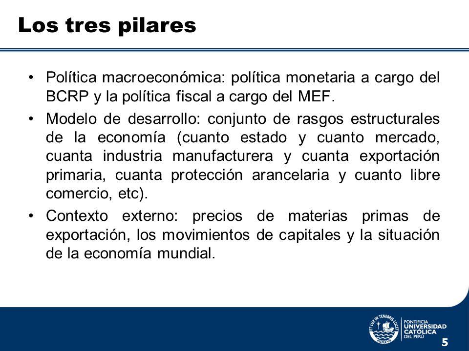 Los tres pilares Política macroeconómica: política monetaria a cargo del BCRP y la política fiscal a cargo del MEF.