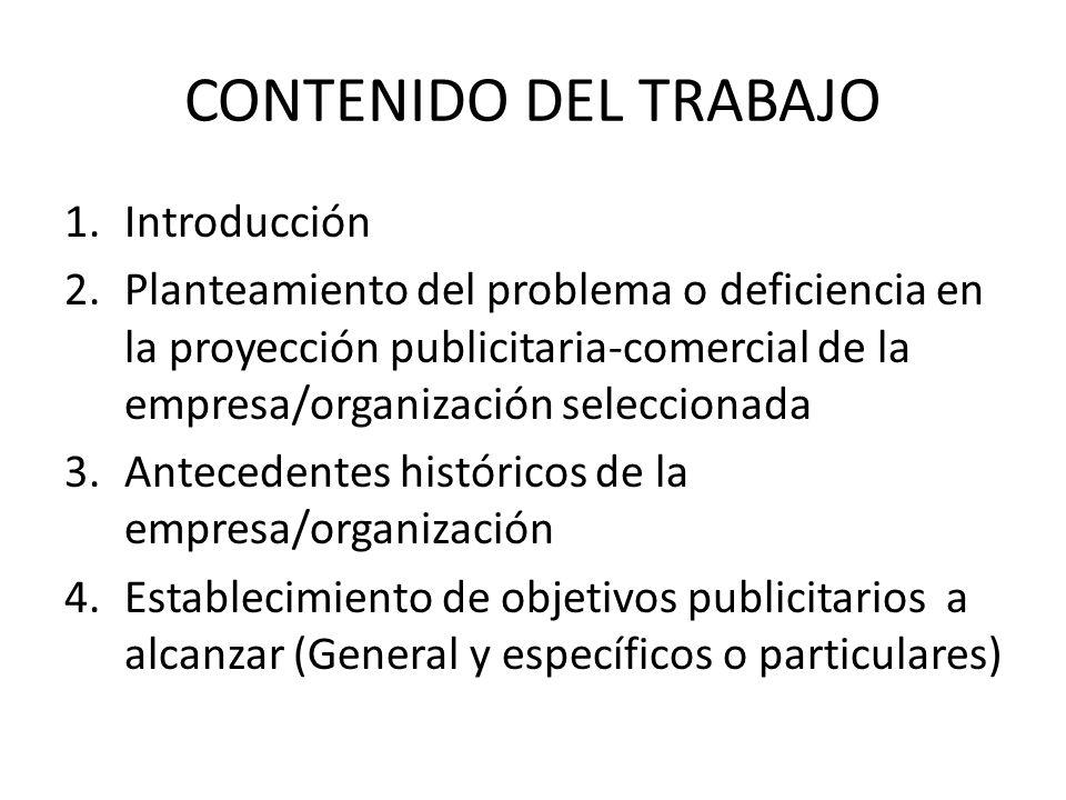 CONTENIDO DEL TRABAJO Introducción