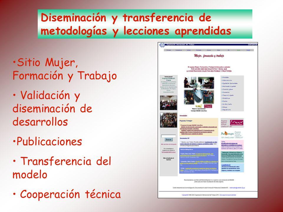 Diseminación y transferencia de metodologías y lecciones aprendidas