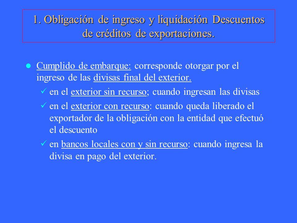 1. Obligación de ingreso y liquidación Descuentos de créditos de exportaciones.