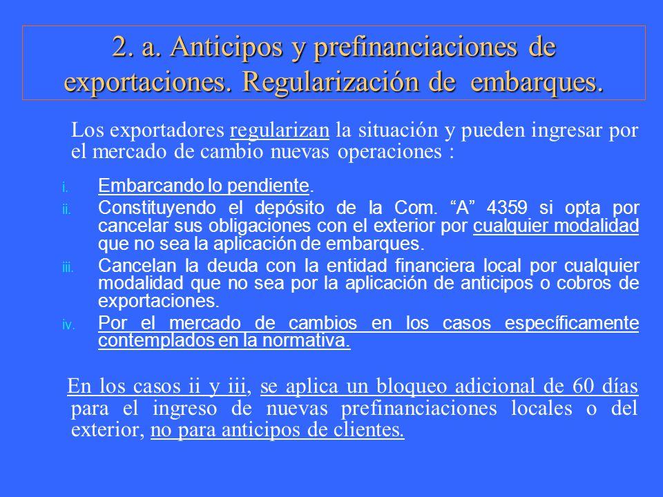 2. a. Anticipos y prefinanciaciones de exportaciones