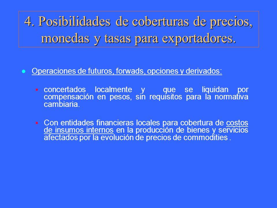 4. Posibilidades de coberturas de precios, monedas y tasas para exportadores.