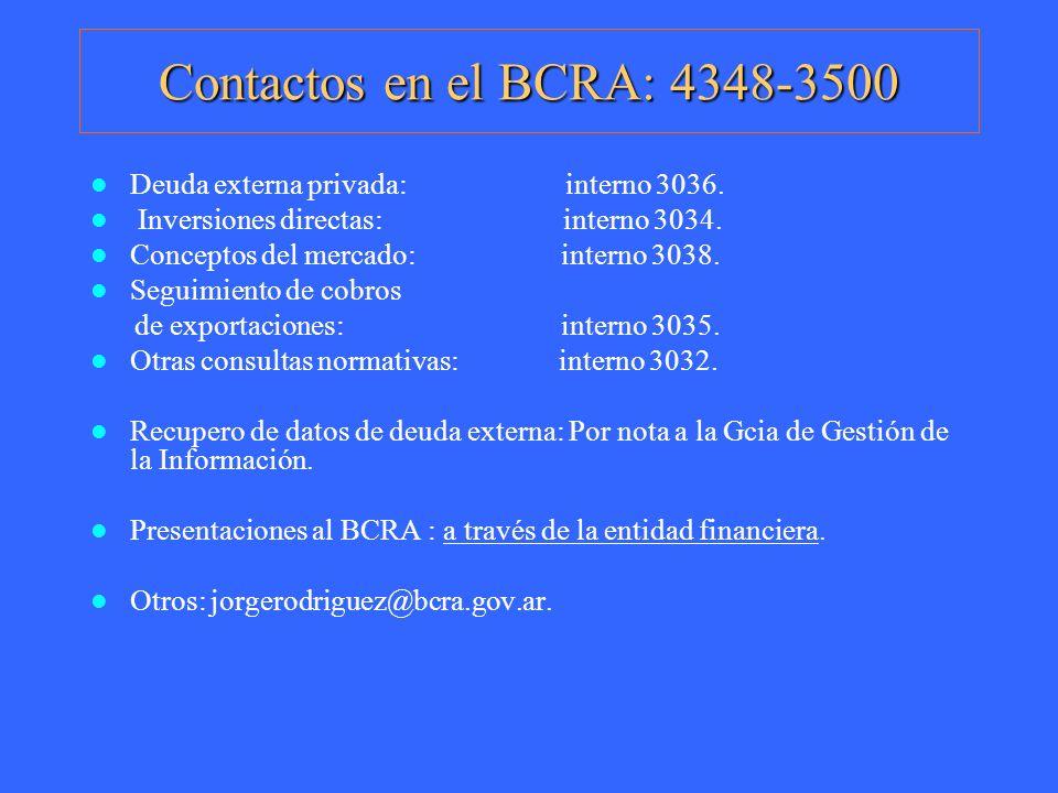 Contactos en el BCRA: 4348-3500 Deuda externa privada: interno 3036.