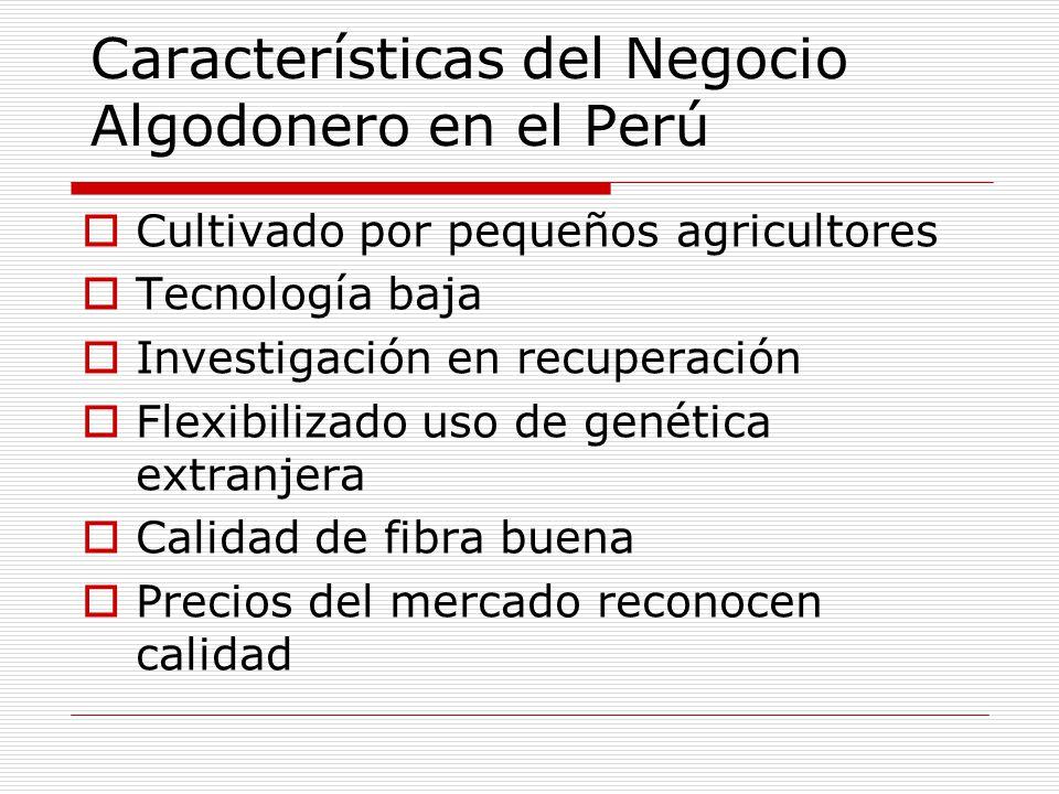 Características del Negocio Algodonero en el Perú