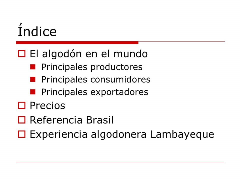 Índice El algodón en el mundo Precios Referencia Brasil