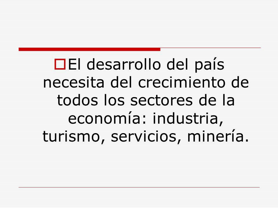 El desarrollo del país necesita del crecimiento de todos los sectores de la economía: industria, turismo, servicios, minería.