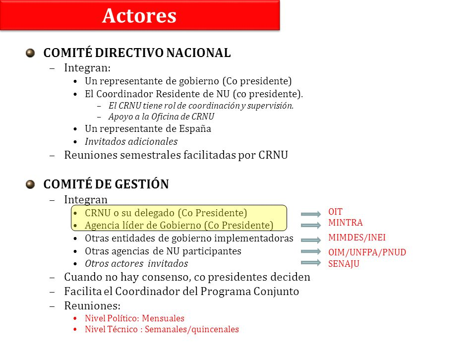 Actores COMITÉ DIRECTIVO NACIONAL COMITÉ DE GESTIÓN Integran: