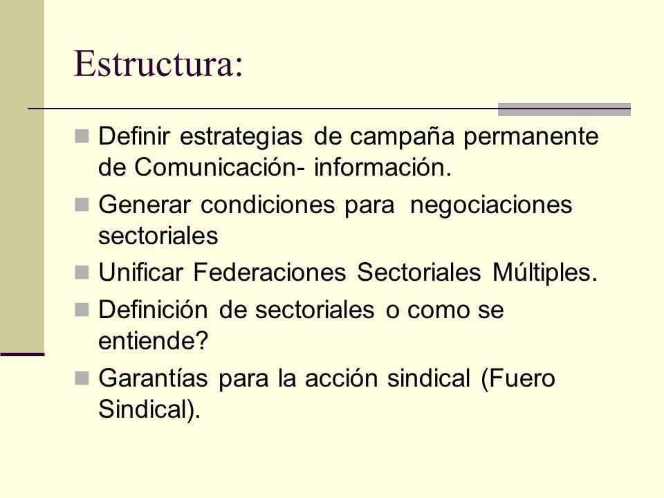 Estructura: Definir estrategias de campaña permanente de Comunicación- información. Generar condiciones para negociaciones sectoriales.