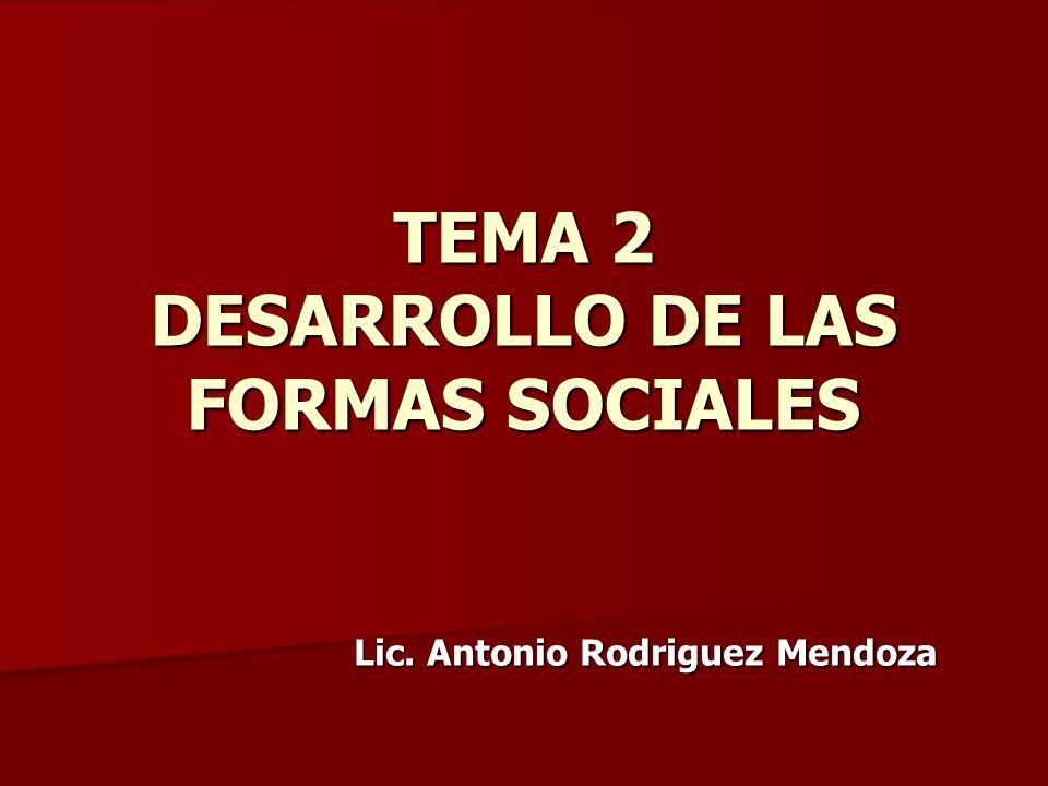 TEMA 2 DESARROLLO DE LAS FORMAS SOCIALES