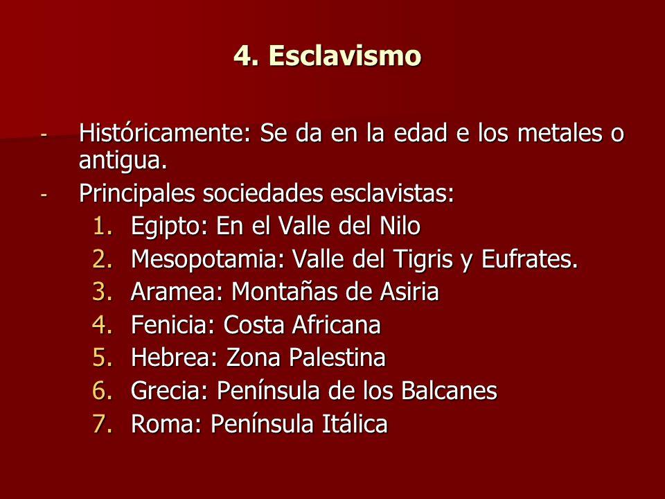 4. Esclavismo Históricamente: Se da en la edad e los metales o antigua. Principales sociedades esclavistas: