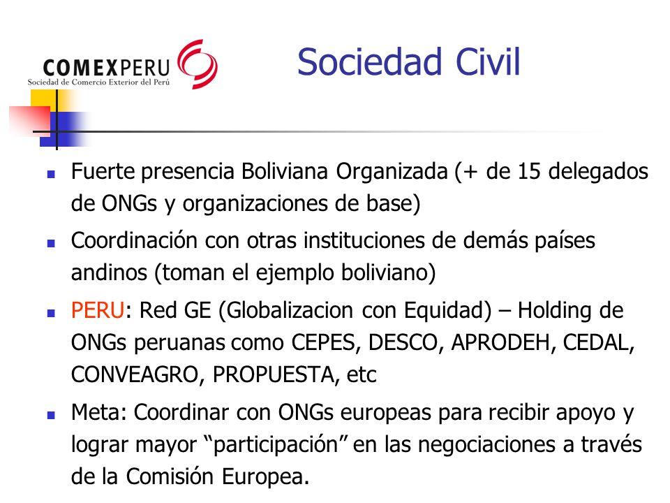 Sociedad Civil Fuerte presencia Boliviana Organizada (+ de 15 delegados de ONGs y organizaciones de base)