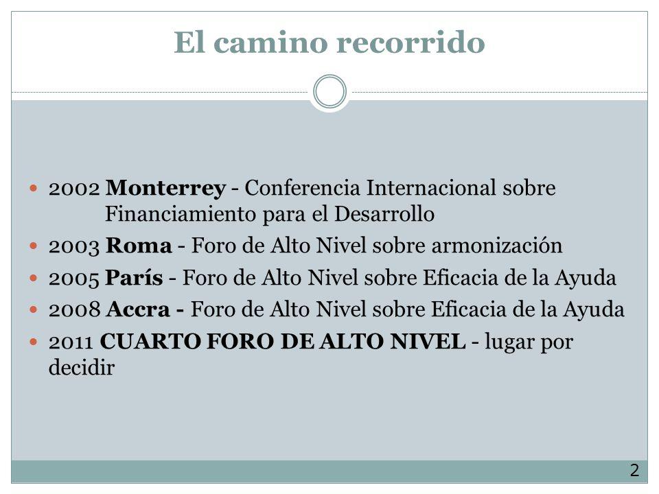 El camino recorrido 2002 Monterrey - Conferencia Internacional sobre Financiamiento para el Desarrollo.