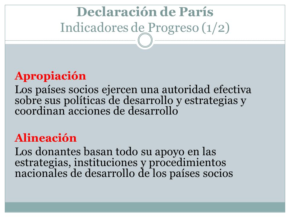 Declaración de París Indicadores de Progreso (1/2)