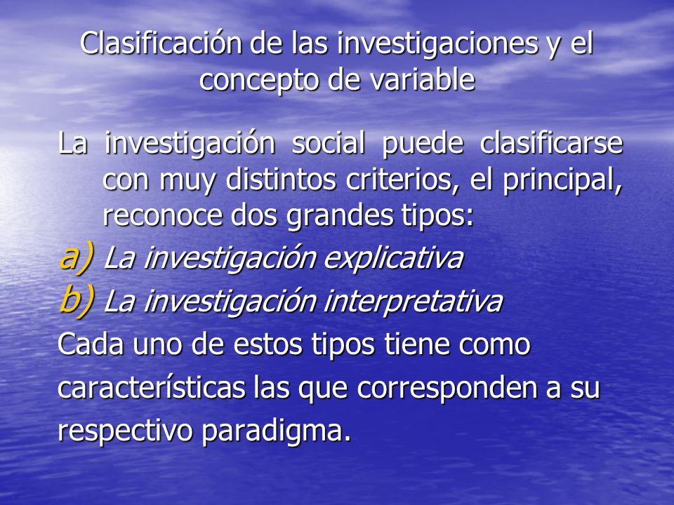 Clasificación de las investigaciones y el concepto de variable