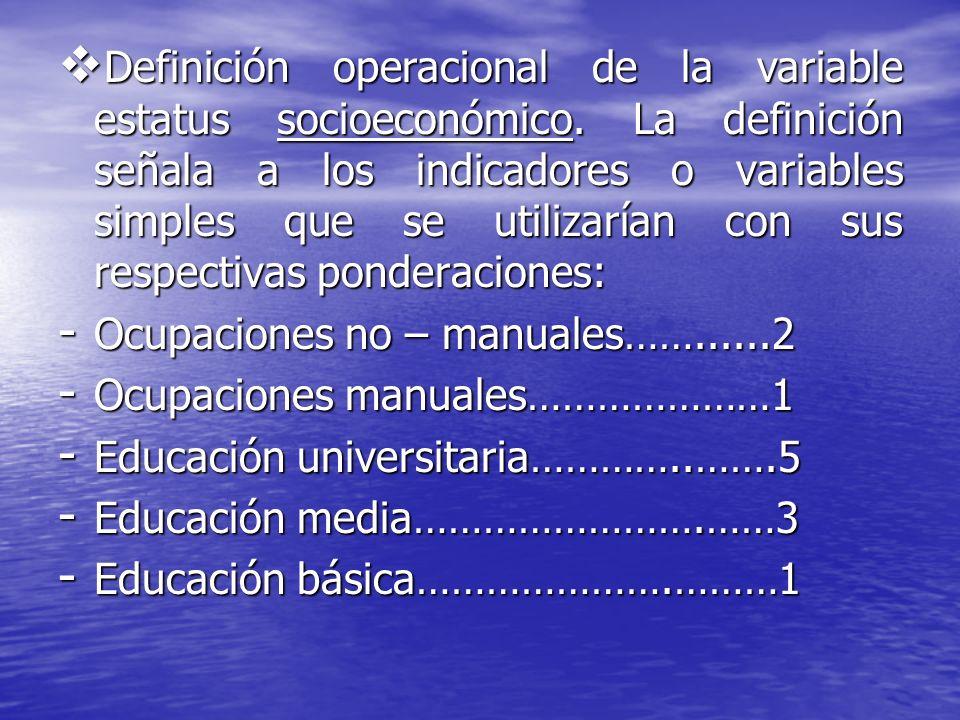 Definición operacional de la variable estatus socioeconómico