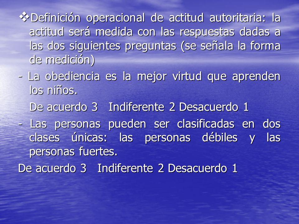 Definición operacional de actitud autoritaria: la actitud será medida con las respuestas dadas a las dos siguientes preguntas (se señala la forma de medición)