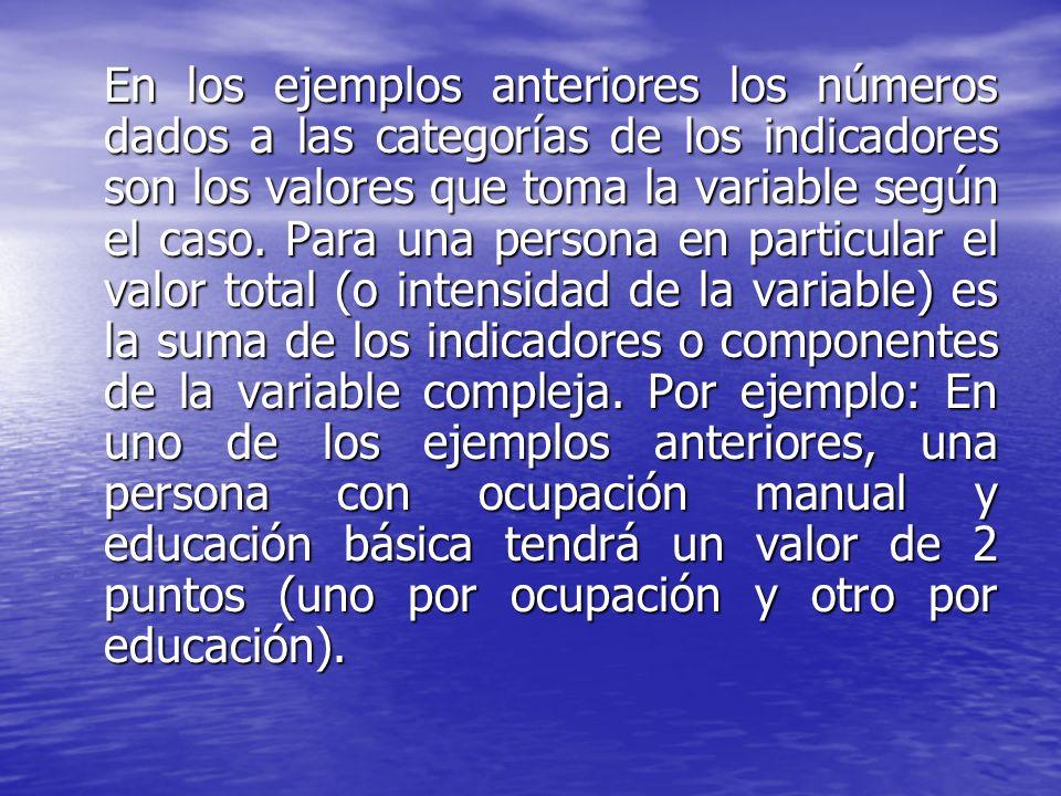 En los ejemplos anteriores los números dados a las categorías de los indicadores son los valores que toma la variable según el caso.