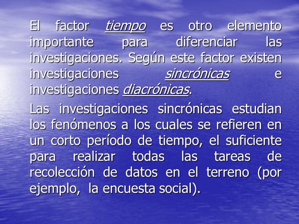 El factor tiempo es otro elemento importante para diferenciar las investigaciones. Según este factor existen investigaciones sincrónicas e investigaciones diacrónicas.