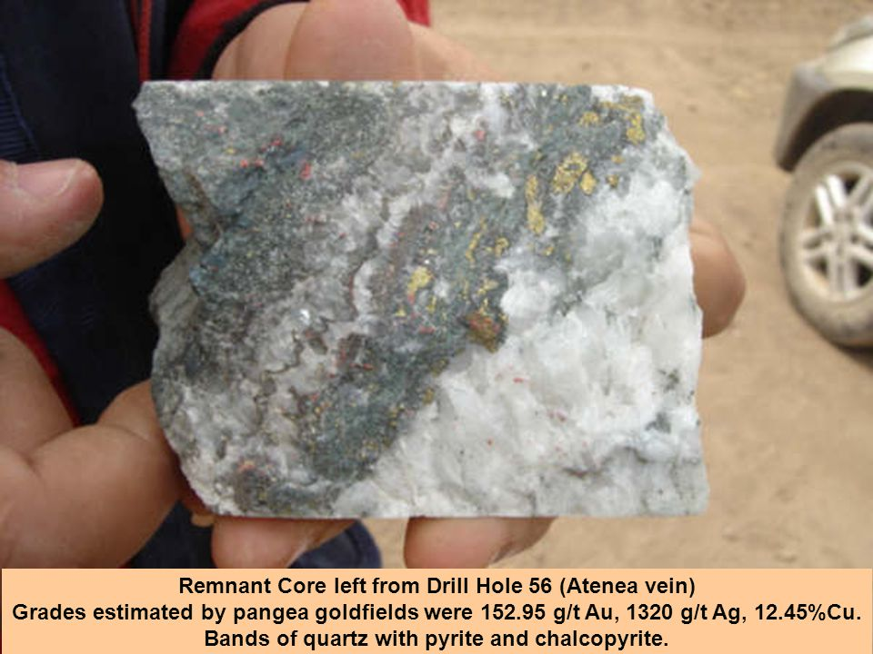 Remnant Core left from Drill Hole 56 (Atenea vein)