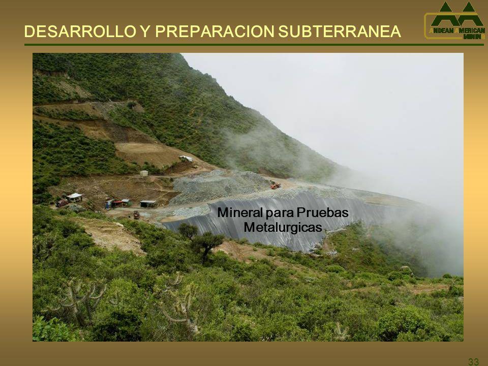 DESARROLLO Y PREPARACION SUBTERRANEA Mineral para Pruebas Metalurgicas