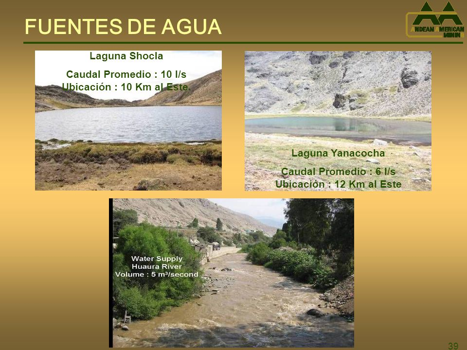 FUENTES DE AGUA Laguna Shocla Caudal Promedio : 10 l/s
