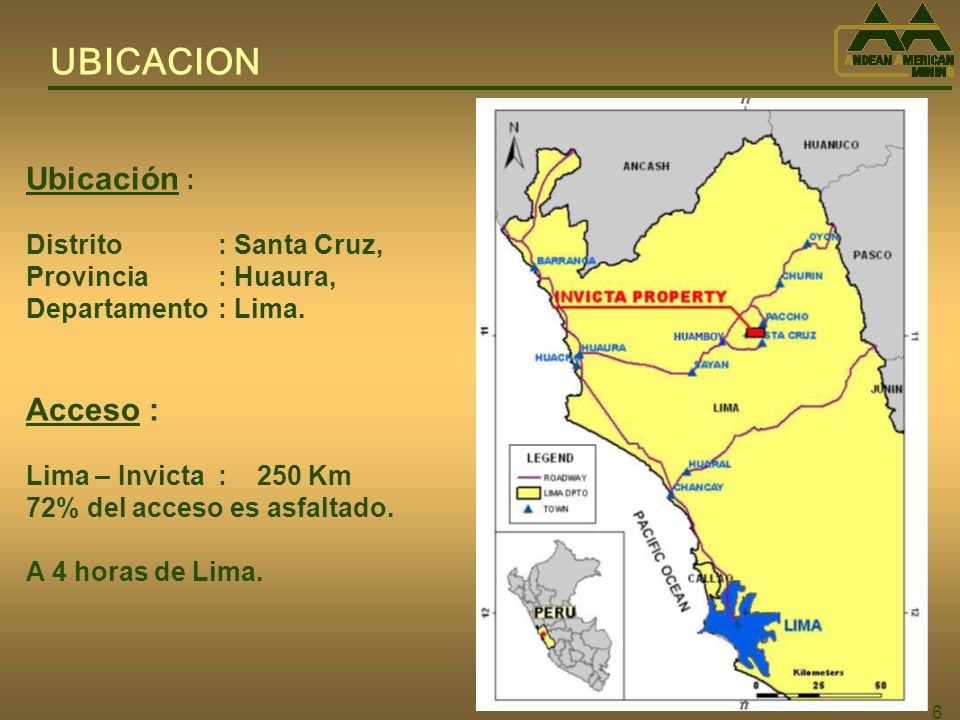 UBICACION Ubicación : Acceso : Distrito : Santa Cruz,