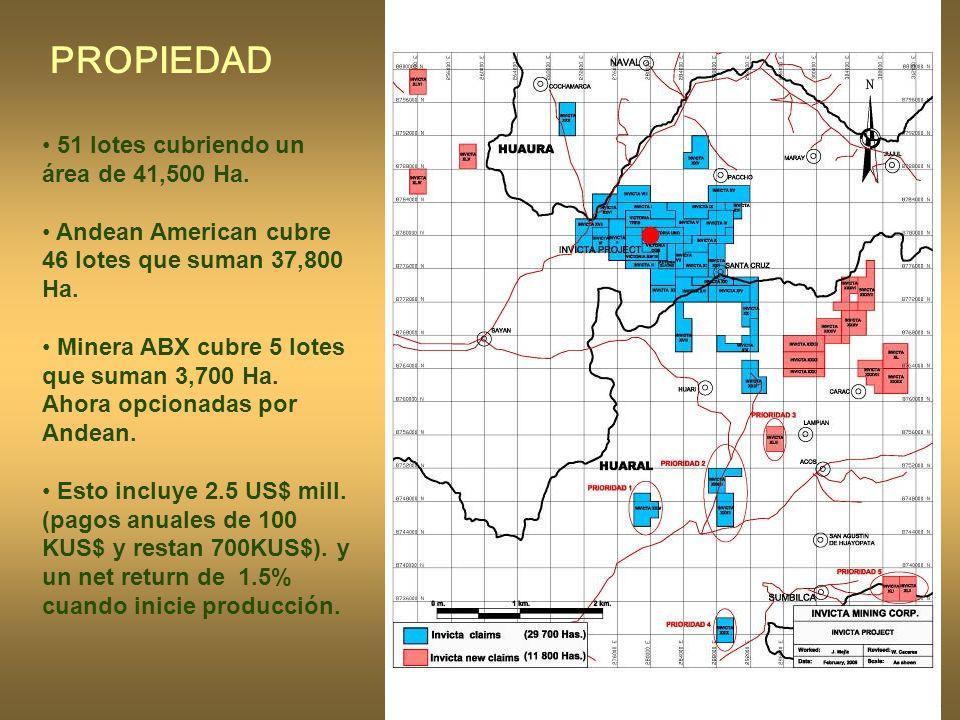 PROPIEDAD 51 lotes cubriendo un área de 41,500 Ha.