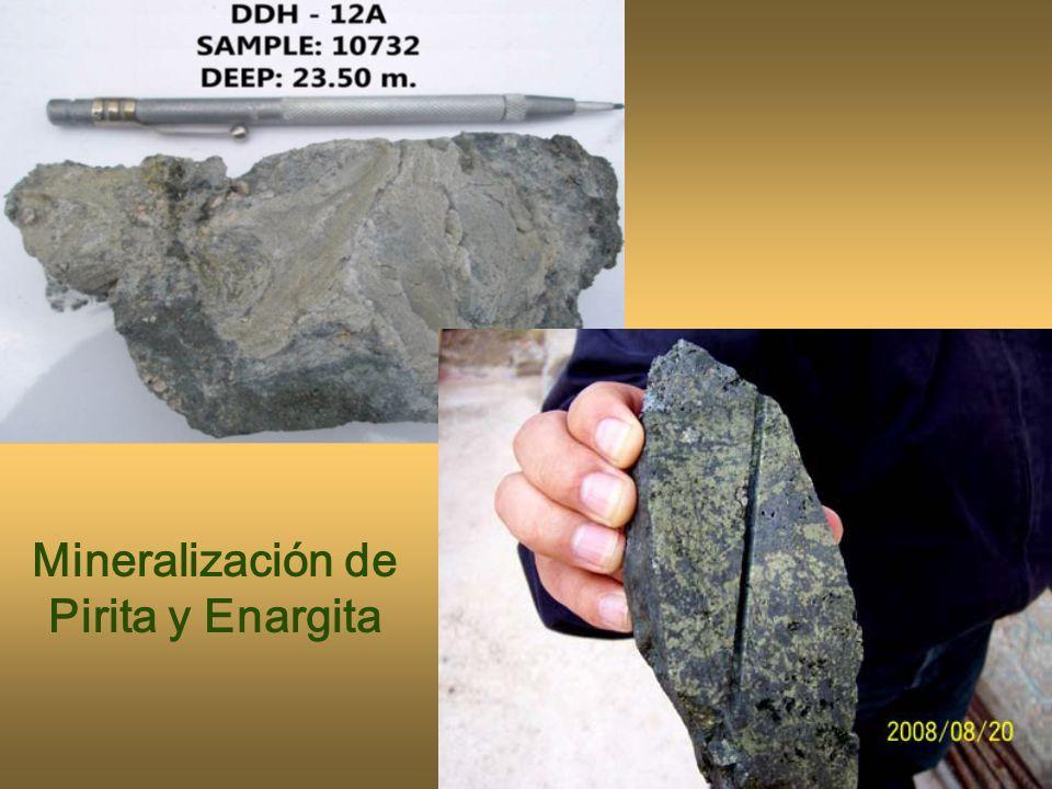 Mineralización de Pirita y Enargita