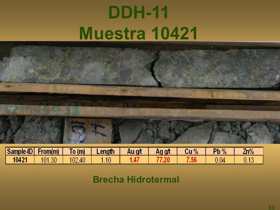 DDH-11 Muestra 10421 Brecha Hidrotermal 85 85