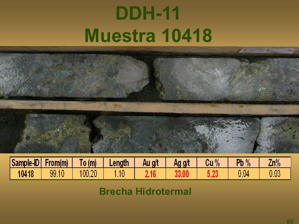 DDH-11 Muestra 10418 Brecha Hidrotermal 86 86