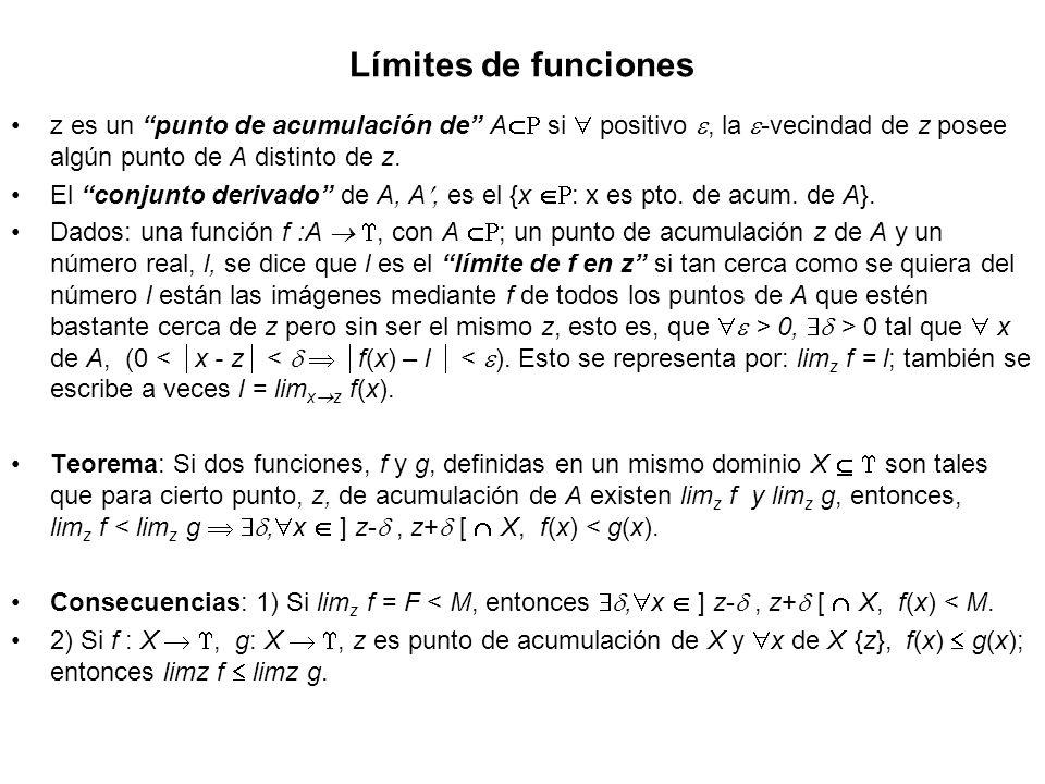 Límites de funciones z es un punto de acumulación de A si  positivo , la -vecindad de z posee algún punto de A distinto de z.