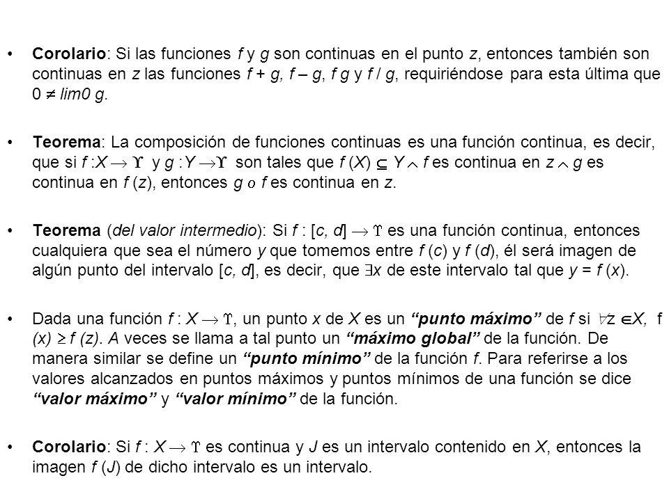 Corolario: Si las funciones f y g son continuas en el punto z, entonces también son continuas en z las funciones f + g, f – g, f g y f / g, requiriéndose para esta última que 0  lim0 g.
