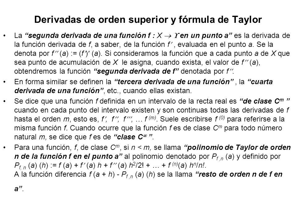 Derivadas de orden superior y fórmula de Taylor