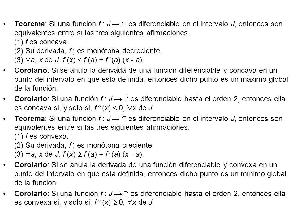 Teorema: Si una función f : J   es diferenciable en el intervalo J, entonces son equivalentes entre sí las tres siguientes afirmaciones. (1) f es cóncava. (2) Su derivada, f, es monótona decreciente. (3) a, x de J, f (x)  f (a) + f (a) (x - a).