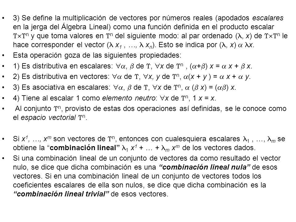 3) Se define la multiplicación de vectores por números reales (apodados escalares en la jerga del Álgebra Lineal) como una función definida en el producto escalar n y que toma valores en n del siguiente modo: al par ordenado (, x) de n le hace corresponder el vector ( x1 , …,  xn). Esto se indica por (, x)  x.