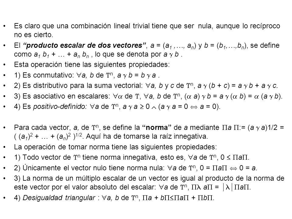 Es claro que una combinación lineal trivial tiene que ser nula, aunque lo recíproco no es cierto.